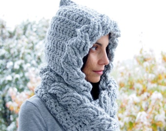 Crochet Pattern hooded cable cowl pixie hood  women bulky wrap loop scarf, DIY tutorial, Instant download