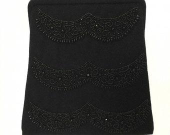 Black Beaded Handbag 1960s Wool Evening Bag