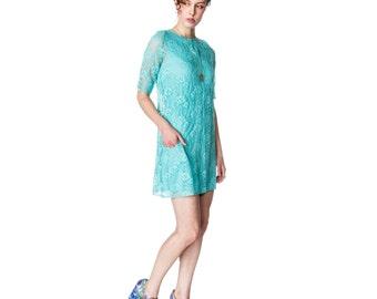 Organic Lace Shift Dress with Jersey under slip - Aqua
