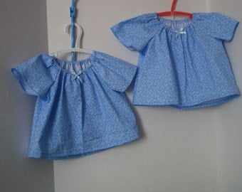 Infant Light Blue Floral Peasant Blouse--Newborn to 24 months -Short Sleeves