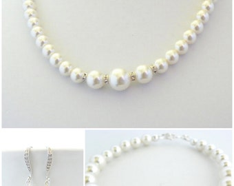 Bridal Jewelry Set, Earrings Bracelet and Necklace, Swarovski Pearls and Rhinestone Beads, Bridesmaid Gift, Classic Wedding Jewellery White
