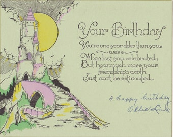 Your Birthday- 1930s Vintage Card- Storybook Castle- Friendship's Worth- Old Art Card- Paper Ephemera- Used