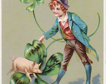 Good Fortune on St. Patrick's Day- 1910s Antique Postcard- Irish Lad- Lucky Pig- Four-Leaf Clover- Raphael Tuck- Art Card- Paper Ephemera