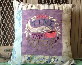 Sampler Chalkboard Style Pillow Take Time To Smell the Coffee