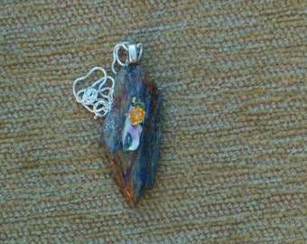 Maine Rocks #2 in a series- pendant with sterling silver chain