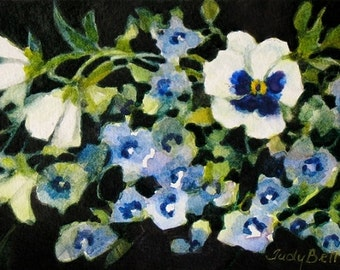 White Pansies And Blue Lobiela Garden Tiny Original Art Watercolor