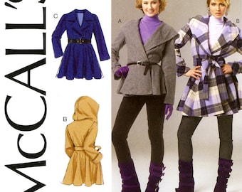 Wrap Coat Pattern Uncut McCalls M6442 Retro Flared Peplum Skirt Belted Coat or Jacket Notched Collar or Hood Womens OOP Sewing Pattern