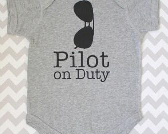 THE ORIGINAL Aviator Sunglasses Pilot on Duty Bodysuit in Heather Grey