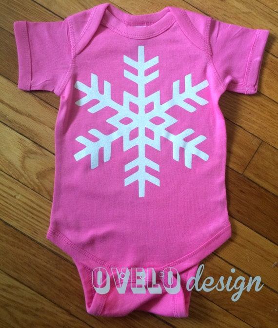 Snowflake Winter bodysuit in Pink with White Sparkle Glitter Snowflake in short or long sleeve