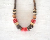 Chunky Beaded Necklace 70s Vintage African Coconut Disc Wood Bead Tribal Necklace