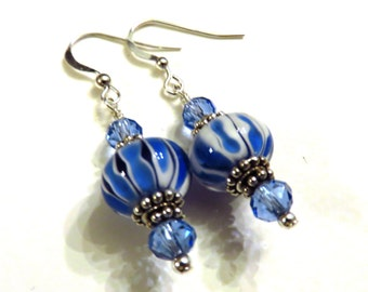 Blue Striped Lampwork Earrings, Blue Earrings, Lampwork Jewelry, Blue Lampwork Earrings
