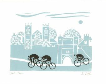 Bicycle Art - Tour of Britain -  Linocut Print - Tour de France - Yorkshire Original Print - Cyclist, Cycling Art - Printmaking