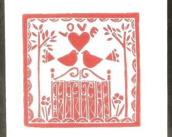 Red Love Birds - Valentines day - Love Hand Printed Card - Red Gate - Wedding Anniversary Handmade Card
