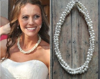 Twisted Pearl Necklace, Bridal Statement Necklace, Bride Pearl Necklace, Pearl Wedding Jewelry, Bridal Jewelry, Pearl Statement Necklace
