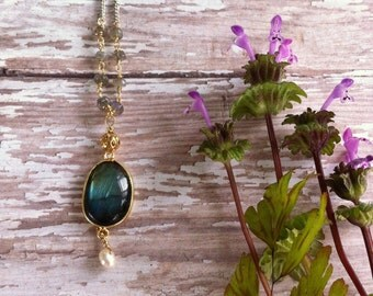 Labradorite drop necklace with labradorite bead chain and pearl