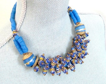 Tribal Clay Glass Bead Choker Necklace African Nubian Princess