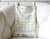 Vintage 1960's Pastel Blue, Mint, Pink, Yellow and White Cord Bead Fringed Shoulder Bag Purse