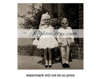 Creepy Halloween Decor Altered Vintage Photography Kids with Horror Masks Collage Art Print