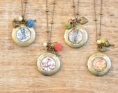 Zuzana Vintage Stamp Locket Charm Necklaces