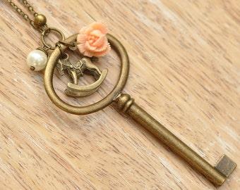 Esther Key & Rocking Horse Pendant Necklace