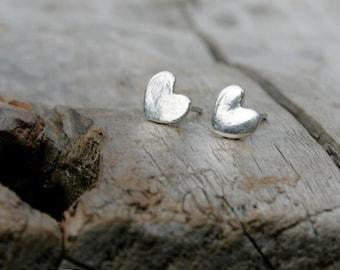Heart Shaped Fine and Sterling Silver Post Earrings. Heart Silver earring studs.