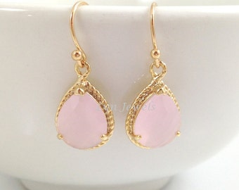 Pink Opal Earrings - Gold Trim Cotton Pink Bridesmaids Earrings Teardrop Pear Christmas Gift Under 25