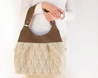 Brown Dots Convertible Messenger Diaper bag