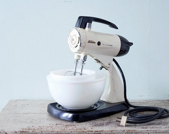 The Must Have OFF WHITE Sunbeam Mixmaster and 2 Milk Glass Mixing Bowls - Model 12 - 1956