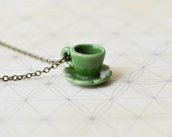Green Teacup Necklace - Antiqued Brass Chain - Alice in Wonderland - Whimsical Jewelry - Tea Party - Women Scallop - Teacup Jewelry