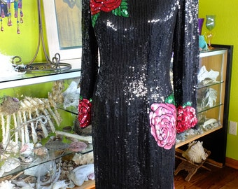Black beaded dress roses patterned flapper 1980s does 1920s dress
