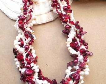 Statement necklace, real Pearls, Multi strand necklace, Marsala, Wine Red, Ivory, Red and white, Woven, Freeform, Twisted: Marsala and Cream