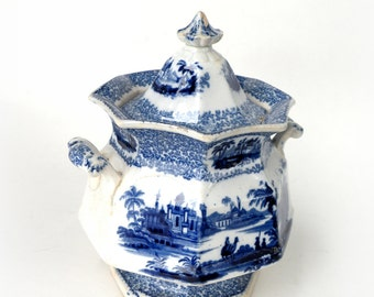 Vintage Asian Decor- Oriental Sugar Bowl- Delft  Blue Pottery Top Birthday Gifts Top Selling Shops Best Sellers Kitchen
