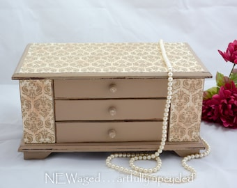 Shabby Chic Jewelry Box, tan with distressed finish, lots of storage for your jewelry