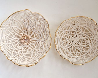 Gold rim white jewelry dishes - ceramic clay stacking bowls - organic pattern - wedding ring bearer dish - set of two bowls