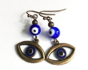 Blue Evil Eye | Earrings