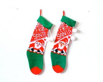 Vintage knit santa christmas stockings // retro classic // set of two stockings // pair of vintage small stockings // from santa stockings