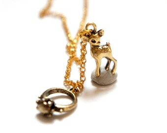 SALE Marry Me Ring and Baby Deer Necklace - Miniature Charm Necklace - Antiqued Brass Charms Gold Chain - GN07