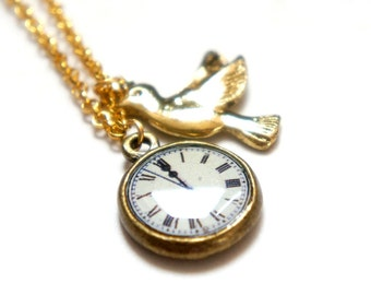 Time To Fly Necklace - Bird and Pocket Watch - Miniature Charm Necklace - Antiqued Brass Charms Gold Chain - GN02