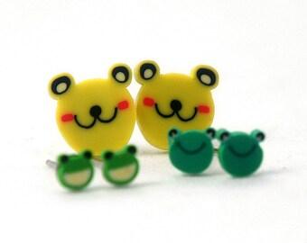 Baby Miniature Frog Post Earrings 4mm 10mm