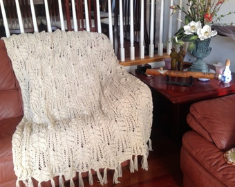 Ready-Made Knit Afghan---CABLE & LACE in OFFWHITE