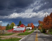Farmhouse Red Barn, blue red gray, farm scene, Fall color landscape, rustic, dark storm clouds, rural country road, unique gift under 30