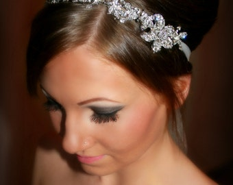 Bridal Headband, Bridal Head Piece, SHAY, Rhinestone Headband, Wedding Headband, Tulle wedding, Wedding Headpiece, Wedding Accessory