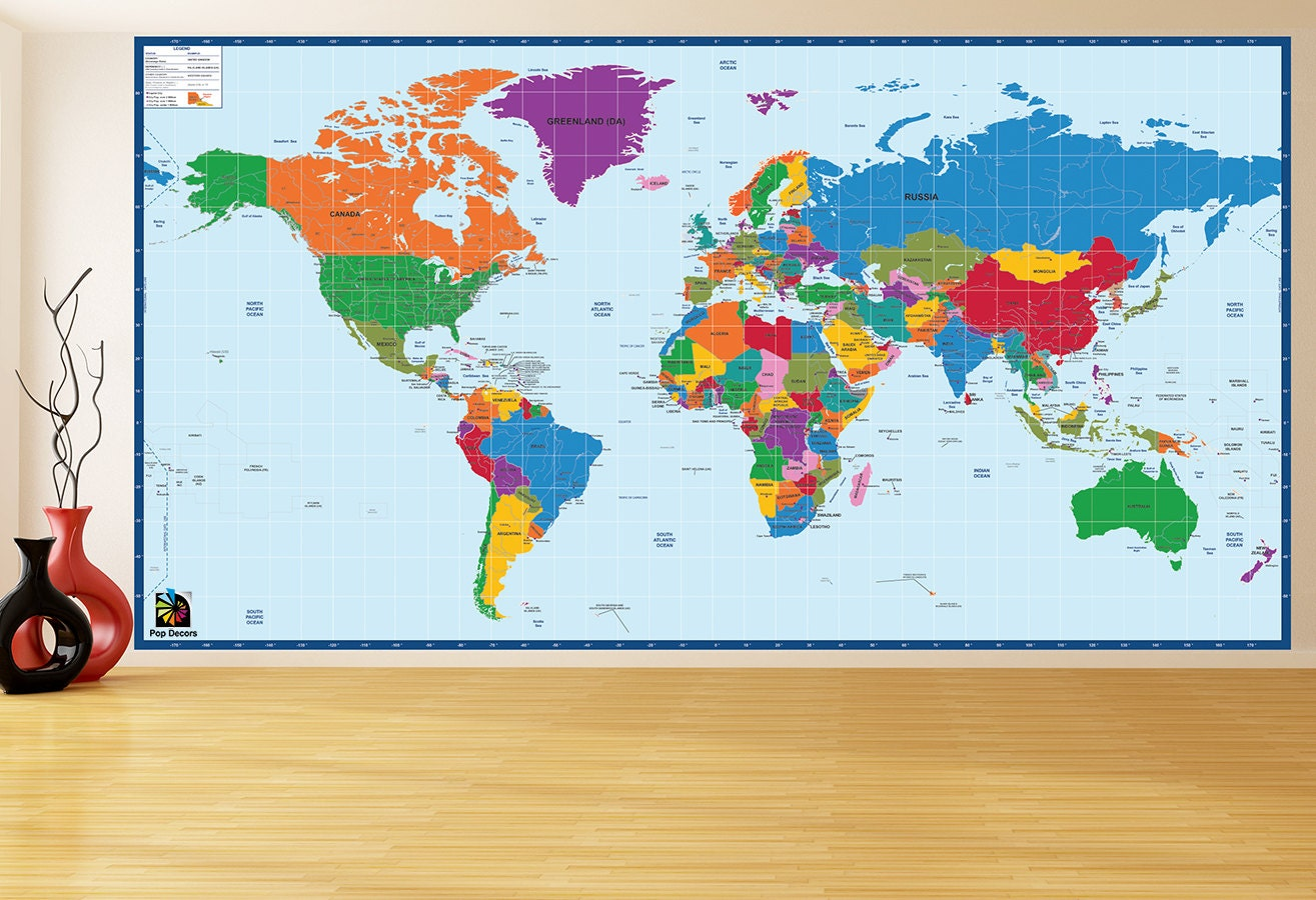 Children Educational Wall Stickers World Map H - Educational wall decals