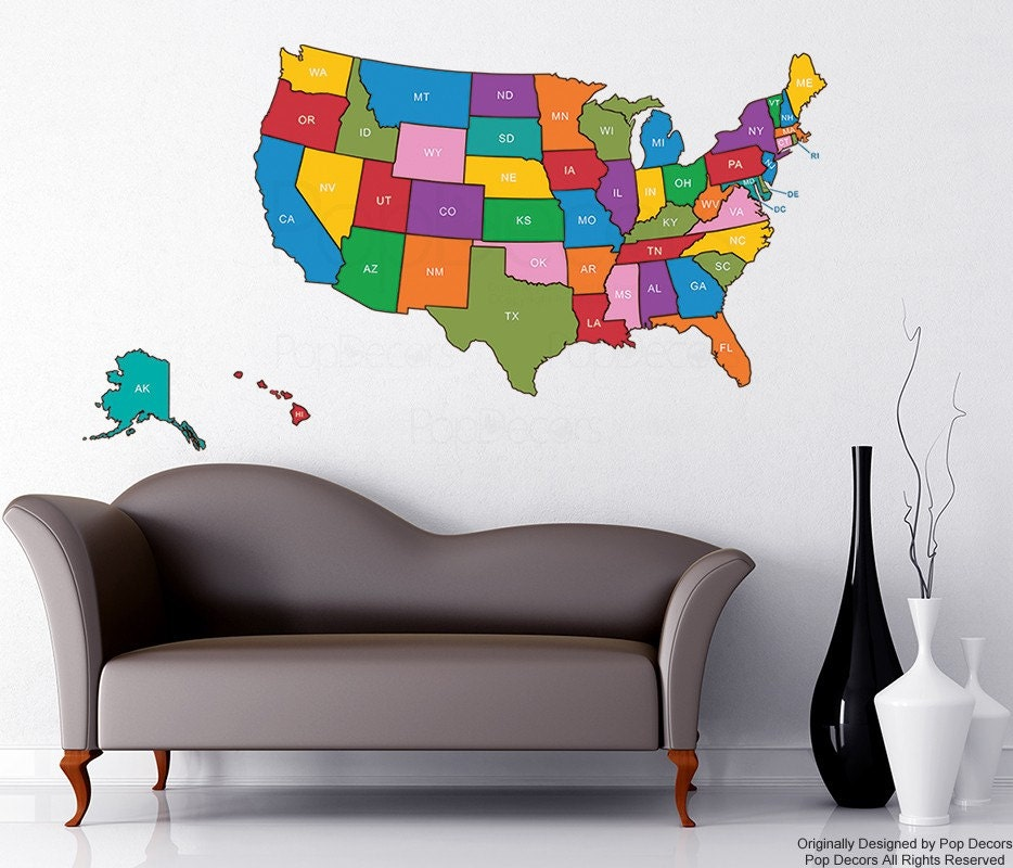Wall Sticker US Map Cut Outline Office Us Map Wall Decors - Sticker us map