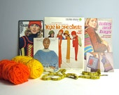1970s knit, crochet and hairpin lace craft books - 4 retro knit instruction books - vests, totes, ponchos, scarves - vintage his and hers