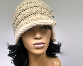 Instant Download PATTERN ONLY Easy Loom Knit Cloche / Flapper Hat with buttons pdf pattern with photo tutorial