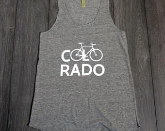 Bicycle Tank Top - Bike Colorado - Alternative Apparel Screenprinted - Grey - Womens
