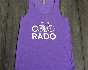 Bike Tank Top - Bicycle Colorado - Alternative Apparel Screenprinted - Purple - Womens