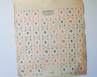 RARE Vintage 1960s Poker Cards Paper Shooting Target Poster