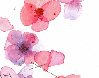 Floral Watercolor, Modern Botanical Watercolor, Coral and Lavender Flowers